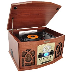 Pyle Vintage Turntable - Retro Vinyl Stereo System With Bluetooth, Cassette and CD Player, USB Recorder, SD Card and Speakers Record AM/FM Radio and Audio Files to MP3 with Remote and LCD